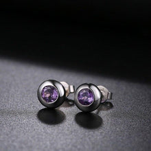 Load image into Gallery viewer, DOUBLE-R Natural Amethyst Gemstone Earrings Silver 925  Stud Earrings Vintage Round Earring CASE00698D