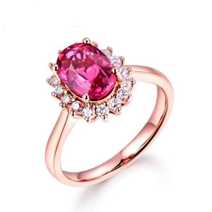 Gorgeous Fashion 14k Solid Rose Gold South Africa Diamond Natural Tourmaline Gemstone Wedding Engagement Valentine's Day Gift - jewelrycafee