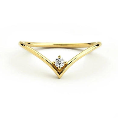 V Ring with Round Diamond Natural Real 2.2mm 0.07ctw Diamond Ring in 14k Yellow Gold For Women - jewelrycafee