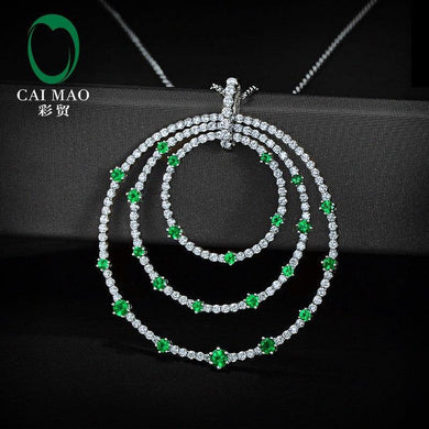 Natural Brilliant Cut Diamond with Green Emerald 14k White Gold Big Circle Pendant - jewelrycafee