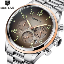 Load image into Gallery viewer, New BENYAR luxury Men quartz watch fashion stainless steel waterproof watch timing sports men's watches clock Relogio Masculino - jewelrycafee