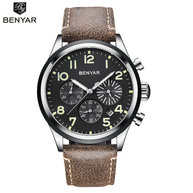 New BENYAR luxury Men quartz watch fashion stainless steel waterproof watch timing sports men's watches clock Relogio Masculino - jewelrycafee