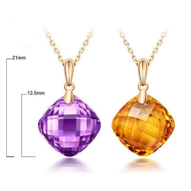 12x12mm Cushion 7.5ct Flawless Citrine Or Amehyst Gem 14K Yellow Gold Pendant For Women - jewelrycafee