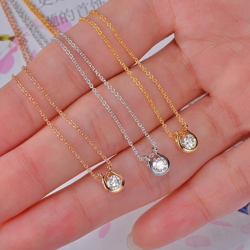 14K Gold Natural Brilliant Cut Diamond Engagement Pendant Exquisite Small Chain - jewelrycafee