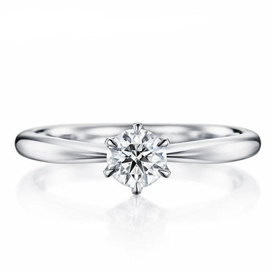 Solid 18K White Gold(AU750) Certified 0.20ct Round Wedding 100% Genuine Natural Diamond Women Jewelry Cute/Romantic Ring - jewelrycafee