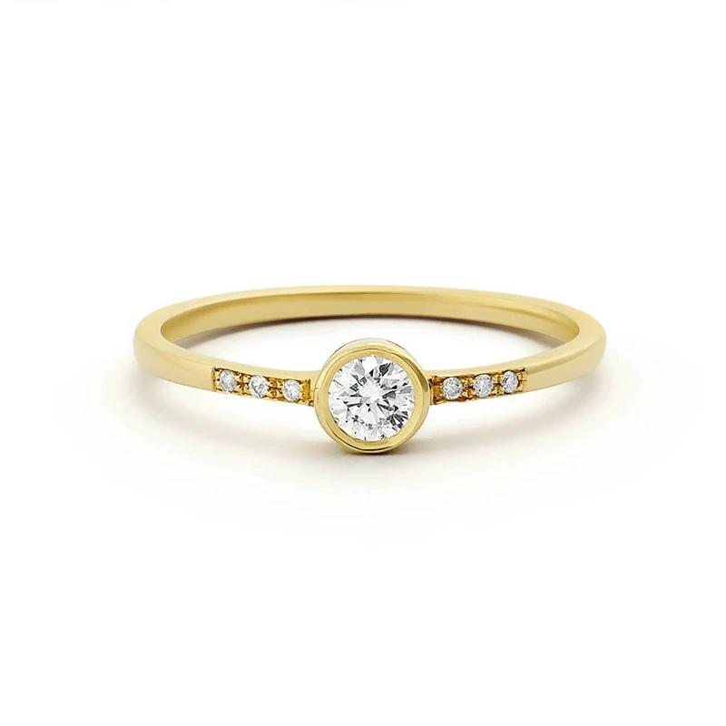 Natural Diamond Engagement Ring 14k Solid Gold with Micro Pave Diamonds Simple Style 0.25ctw For Women Fine Jewelry - jewelrycafee