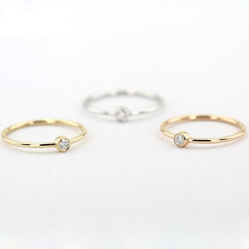 Tiny Small 2.5mm 0.05ctw Diamond Solitaire Ring Thin gold Band Ring 14k White/Rose/Yellow Gold - jewelrycafee