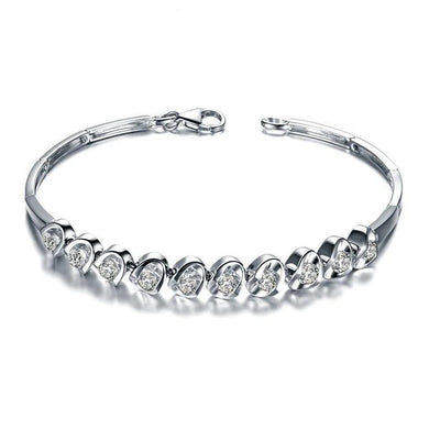 DESIGNER 1.2 CT CERTIFIED DIAMOND 18K WHITE GOLD CHAIN BRACELET JEWELRY BRACELETS BRACLETS BANGLE S00270 - jewelrycafee