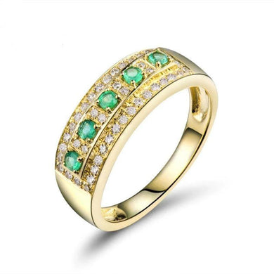 Diamond Rings Vintage Solid 18K Yellow Gold Natural Green Columbia Emerald Gemstone Wedding Men&Women Ring For Party Gift - jewelrycafee