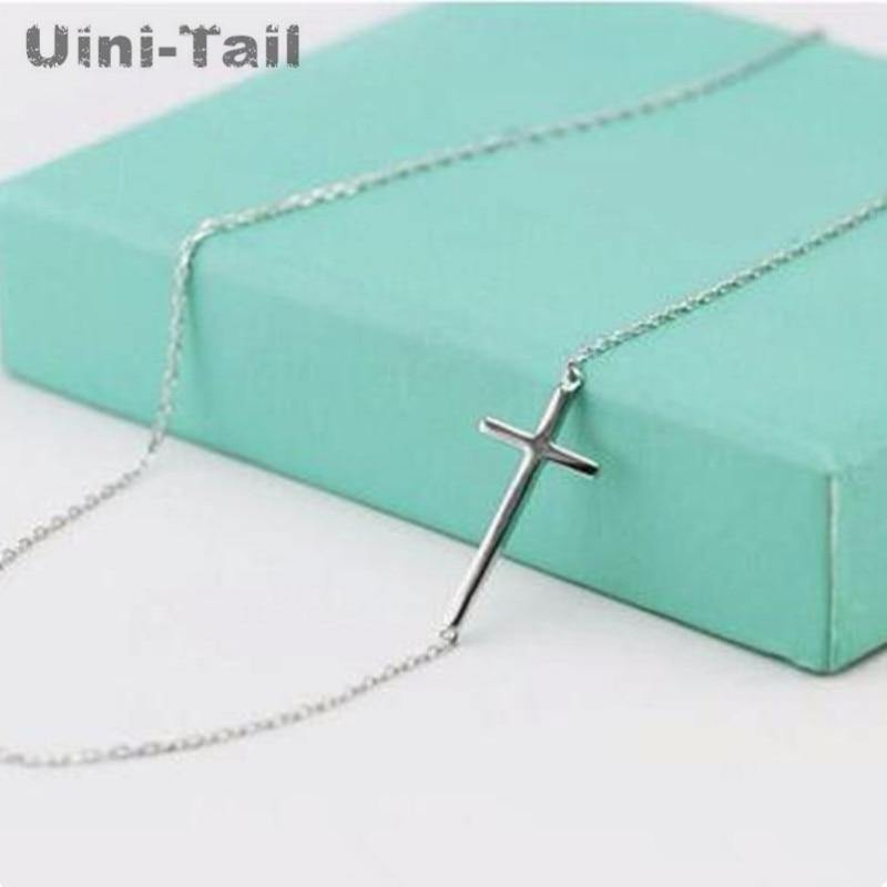 Korea 925 sterling silver personality cross necklace female clavicle chain short paragraph sweet simple wild student jewelry - jewelrycafee