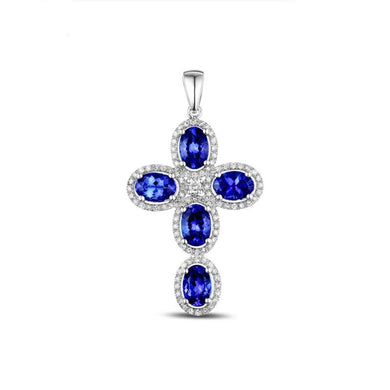 Natural 3.35ct Blue Tanzanite with 0.56ct Pave H SI Diamonds 14k White Gold Engagement Crosses Pendant - jewelrycafee