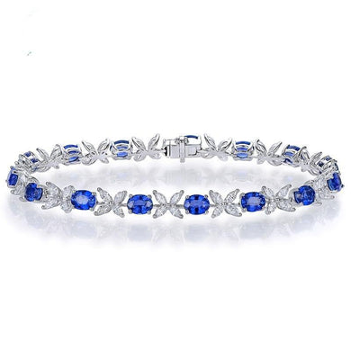 6.97ctw Natural Blue Sapphire and Marquise Diamond 18kt AU750 White Gold Bracelet Fine Jewellery - jewelrycafee