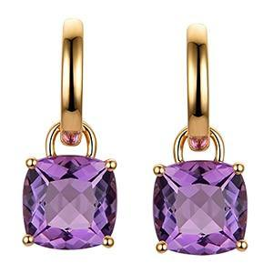 Caimao Jewelry Romantic 14K Gold 5.80ct Amethyst Engagement Drop Earrings - jewelrycafee