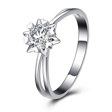 14k White Gold Real Diamond Prong Setting Engagement Wedding Band Luxury Halo Style for Women - jewelrycafee