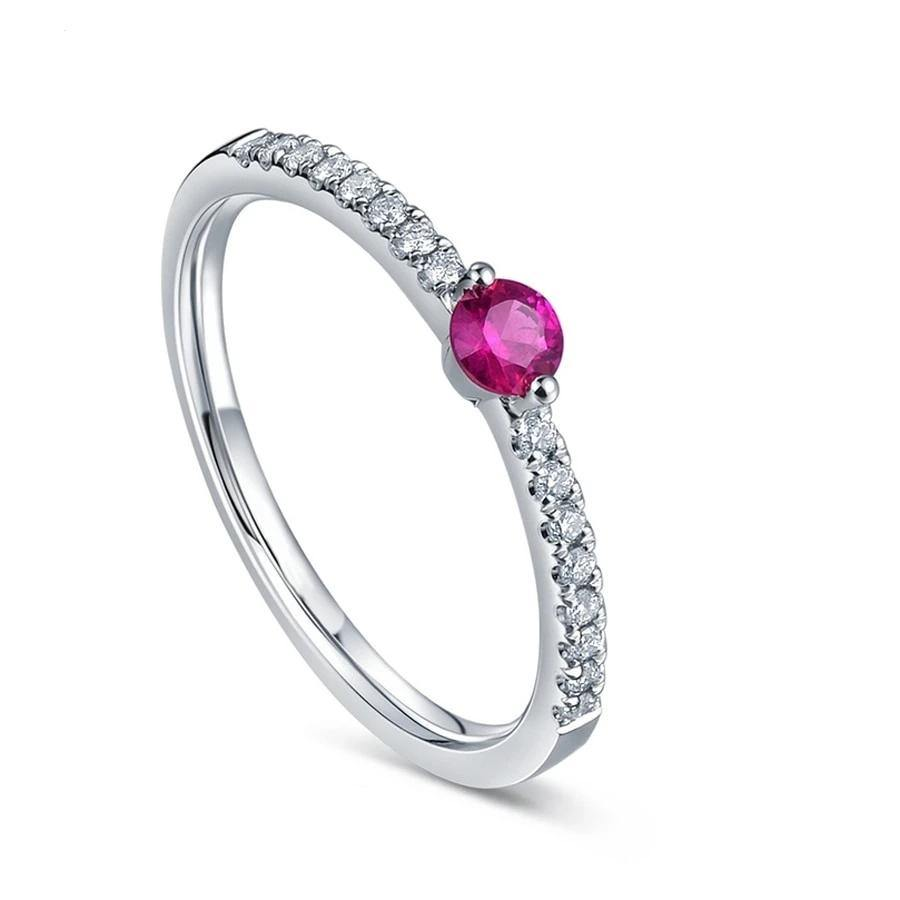 0.16 carat Natural Red Ruby Pave Setting Real Natural Diamonds Engagement Wedding Anniversary Band Fine Jewelry 14K White Gold - jewelrycafee