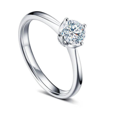 Luxury Natural Diamond 14K 585 White Gold Wedding Ring For Women Real Diamond Rings Jewelry Elegant Gift Halo Style - jewelrycafee