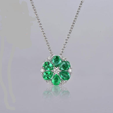 Natural 1.42CT Emerald H SI Diamond Engagement 14k White Gold Pendant Chain - jewelrycafee