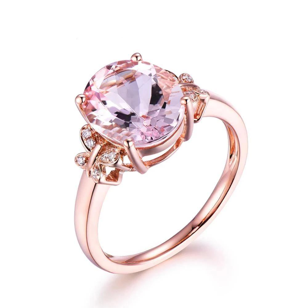 Fashion Jewelry Morganite Gemstone Solid 14K Rose Gold Diamonds Engagement Wedding Band Ring Sets for Women - jewelrycafee