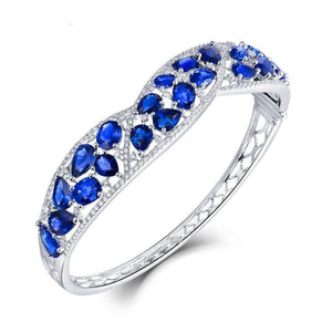 Bracelet Solid 18K White Gold Blue Sapphire Sparkly Diamond Bangle for Women Natural Gemstone Wedding Jewelry Love Gift - jewelrycafee