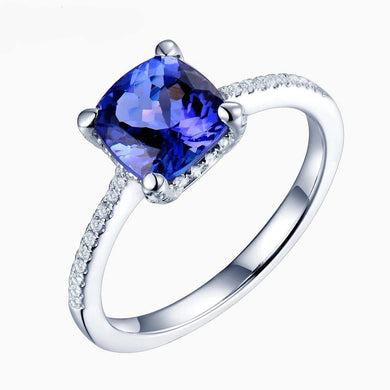 Engagement Ring For Women Eternal Love Elegant Cushion 7.5mm Solid 14Kt White Gold Diamonds Tanzanite Stone Ring - jewelrycafee
