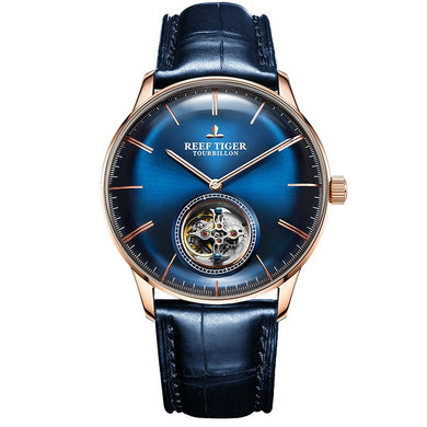 Reef Tiger/RT Men Luxury Brand Tourbillon Watch Blue Rose Gold Automatic Watches Genuine Leather Strap relogio masculine RGA1930 -