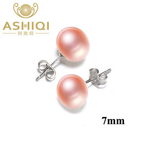 Natural Freshwater Pearl Stud Earrings For Women Real 925 Sterling Silver Jewelry Gift - jewelrycafee
