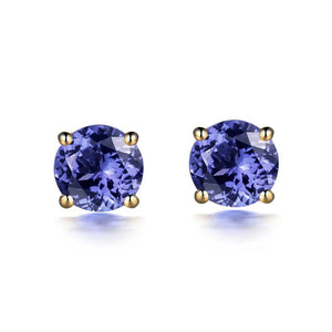 Stud Earrings For Women 14K Yellow Gold 5mm Round Tanzanites Girl Earrings Party Aniversary Best Gift Fine Jewelry - jewelrycafee