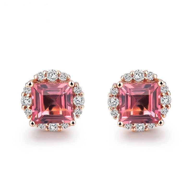 Princess Cut 5.5mm Pink Tourmaline Diamond Wedding Earring Solid 18K Rose Gold Jewelry for Women Christmas Gift - jewelrycafee