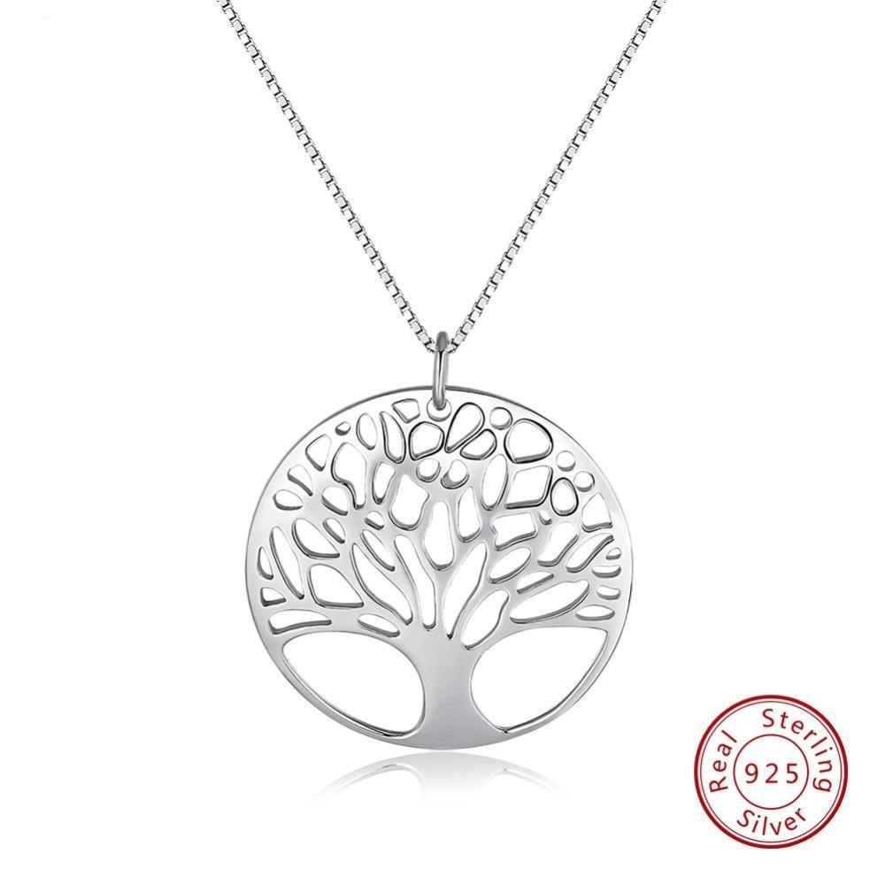 Genuine 925 Sterling Silver Pendants Necklaces Round Hallow Tree Of Life Pendant Silver Box Chain Girl Jewelry OSN90 - jewelrycafee