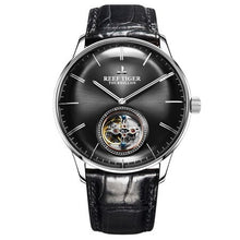 Load image into Gallery viewer, Reef Tiger Classic Serier RGA1930 Men Hollow-out Dial Dress Real Tourbillon Automatic Self-wind Mechanical Wrist Watch-Silver - jewelrycafee
