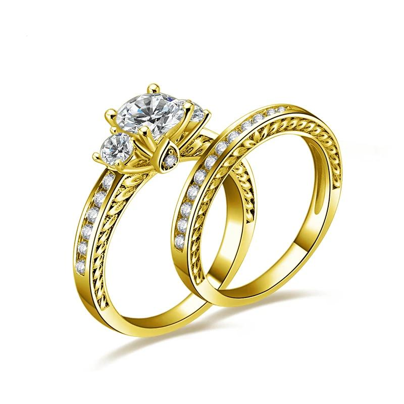 Solid 14K Yellow Gold Wedding Rings Set Round Cut Sona Simulated Diamond Engagement Ring Women Wedding 14K Gold Jewelry - jewelrycafee
