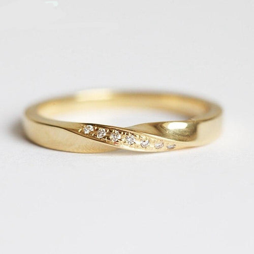 Twisted Diamond Wedding Ring 1.2mm 0.049ctw Round Cut Natural Diamond Engagement Wedding Band 14k Solid Yellow Gold For Women - jewelrycafee