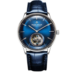 Reef Tiger/RT Blue Tourbillon Watch Men Automatic Mechanical Watches Genuine Leather Strap relogio masculine RGA1930 - jewelrycafee