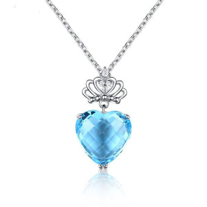 DOUBLE-R 8.75ct Genuine Natural Blue Topaz Necklaces Heart Pendants Real 925 Sterling Silver Fine Wedding Women Jewelry
