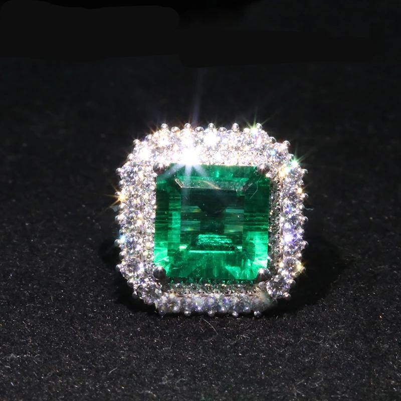 5ctw Real 18K White Gold 4ct 9mm Lab Grown Colombian Emerald with 1ct Moissanite Gemstone Wedding Rings for Women