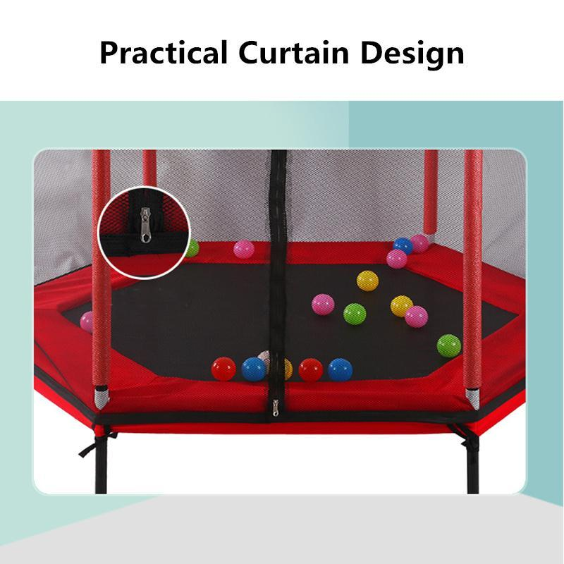62'' Hexagon Kids Trampoline With Balls - Red