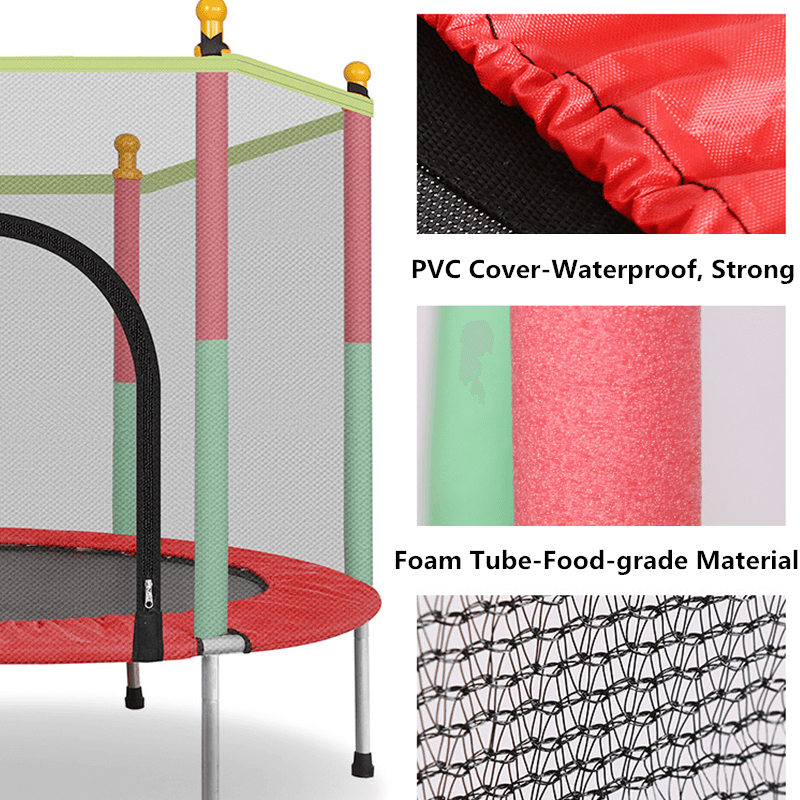 55'' Kids Trampoline With Safety Enclosure