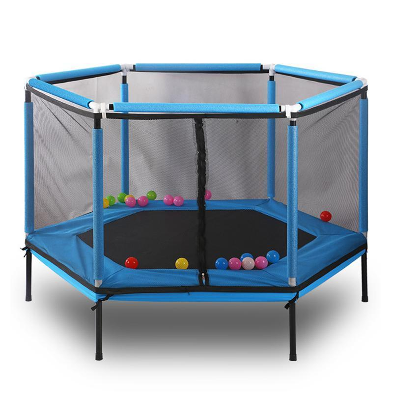 62'' Hexagon Kids Trampoline With Balls - Blue