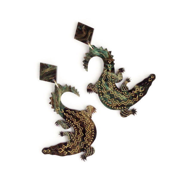 Preorder Salty Steve Crocodile earrings