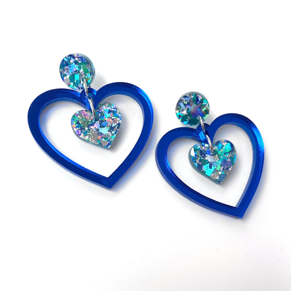 Double Heart earrings - Blue mirror