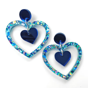 Double Heart earrings - Blue chunky glitter
