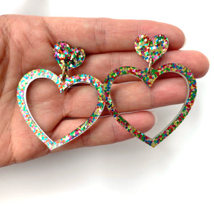 Heart earrings - Confetti Glitter