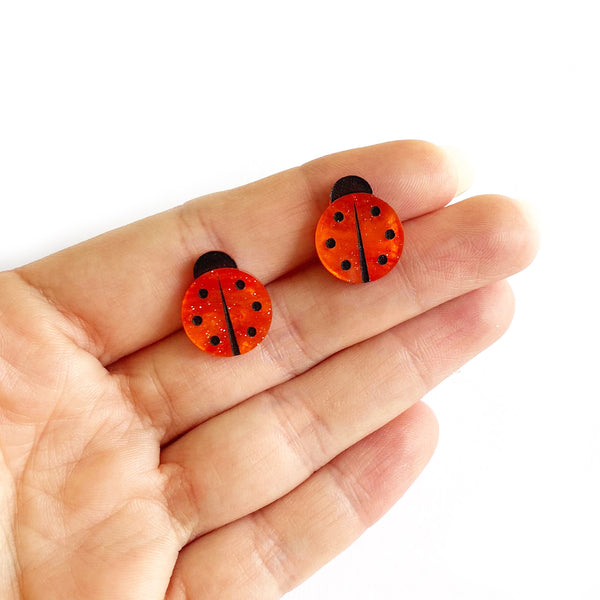 Ladybug earrings - Orange Marble Glitter