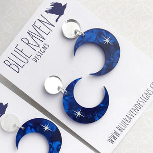 Crescent Moon earrings - Blue Marble & White/Mirror