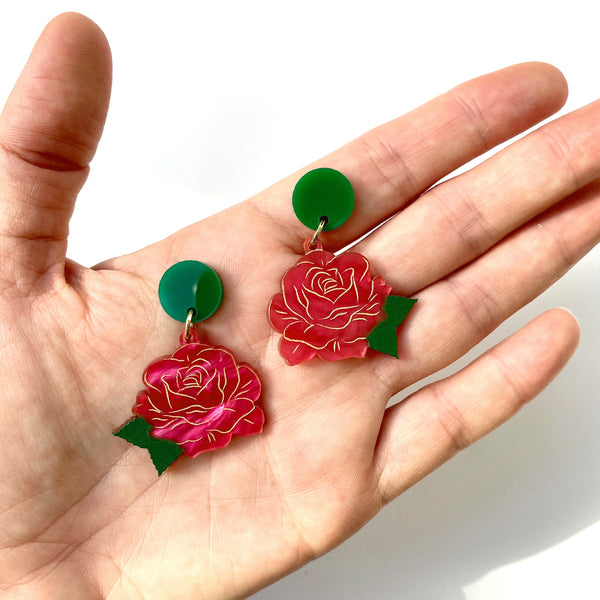 Rose earrings - Pink Marble