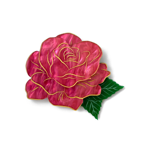 Rose brooch - Pink Marble