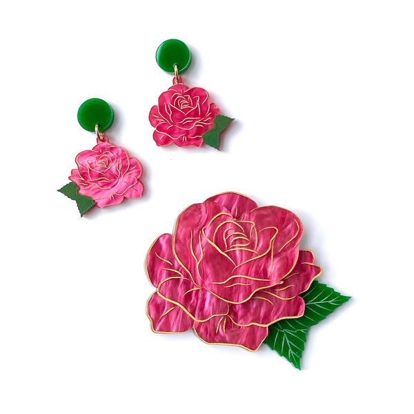 Rose Set - Pink Marble earrings and brooch