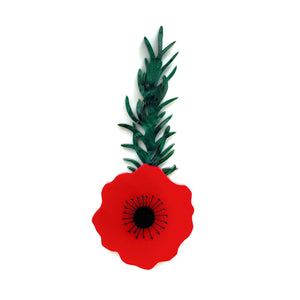 Poppy with Rosemary brooch - Plain Red