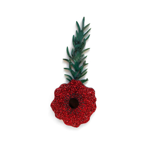 Poppy with Rosemary brooch - Red Glitter