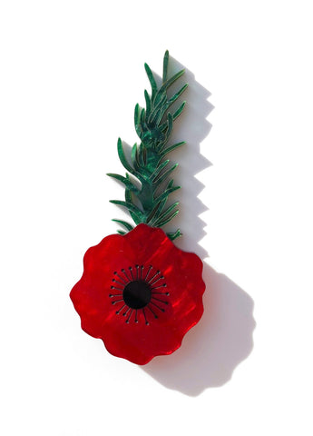 Poppy with Rosemary brooch - Red Marble